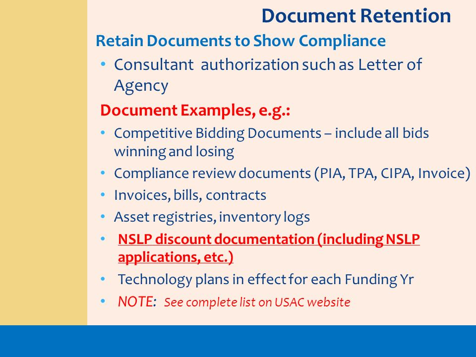 Document Retention Retain Documents to Show Compliance