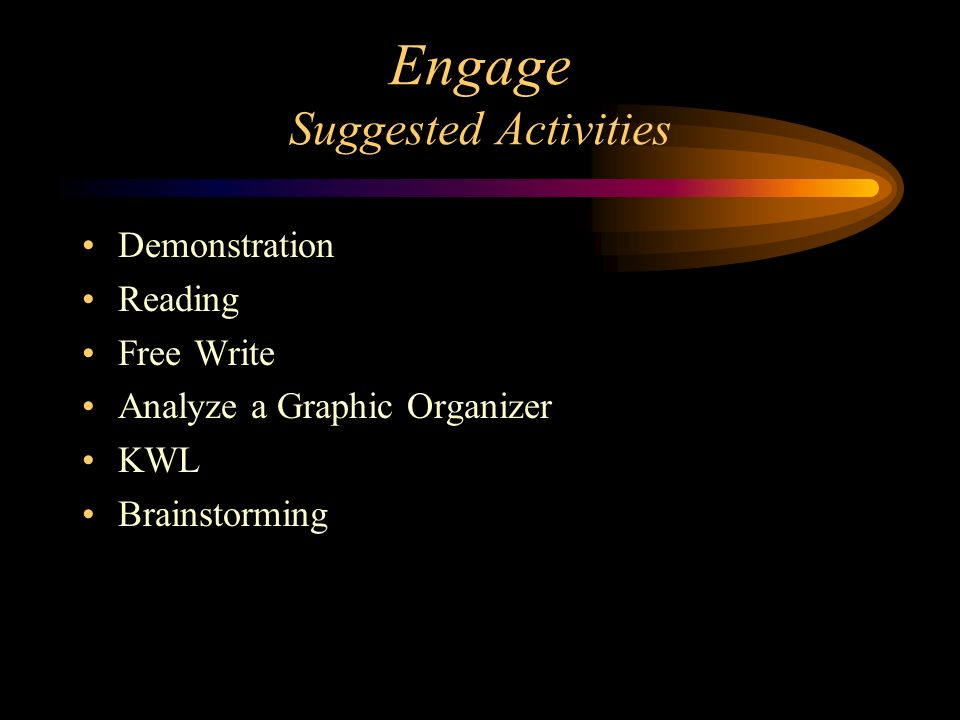 Engage Suggested Activities