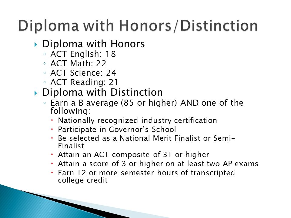 Diploma with Honors/Distinction
