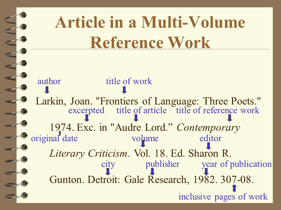 Bibliographies and works cited lists ppt download article in a multi volume reference work ccuart Images