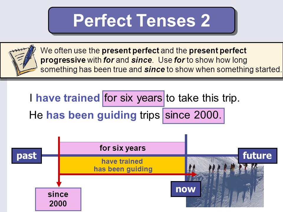Perfect Tenses 2 I have trained for six years to take this trip.