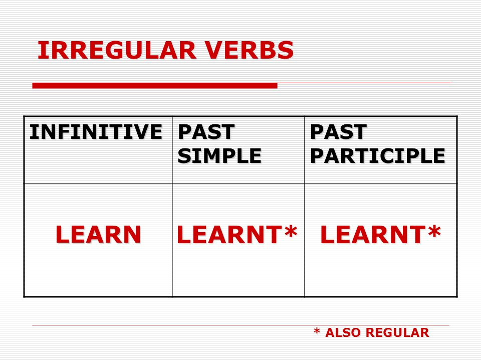 IRREGULAR VERBS LEARNT* LEARNT* LEARN INFINITIVE PAST SIMPLE