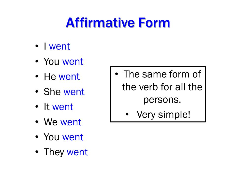 The same form of the verb for all the persons.
