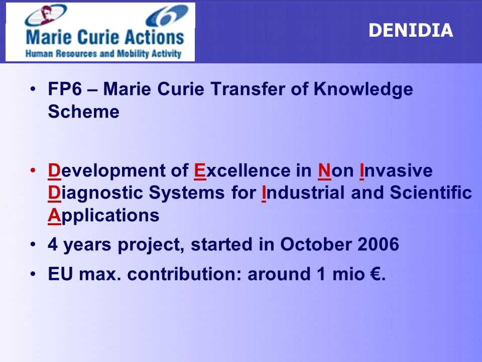 DENIDIA FP6 – Marie Curie Transfer of Knowledge Scheme.