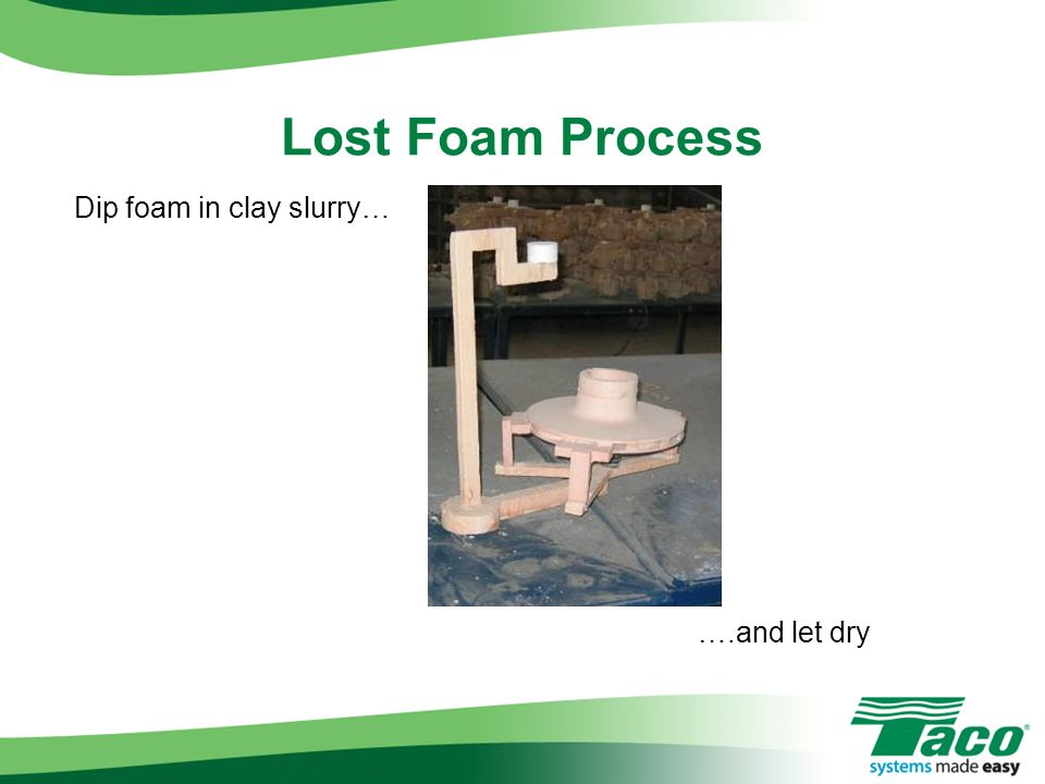 Lost Foam Process Dip foam in clay slurry… ….and let dry