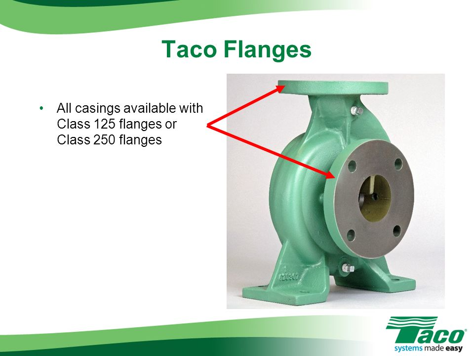 Taco Flanges All casings available with Class 125 flanges or Class 250 flanges