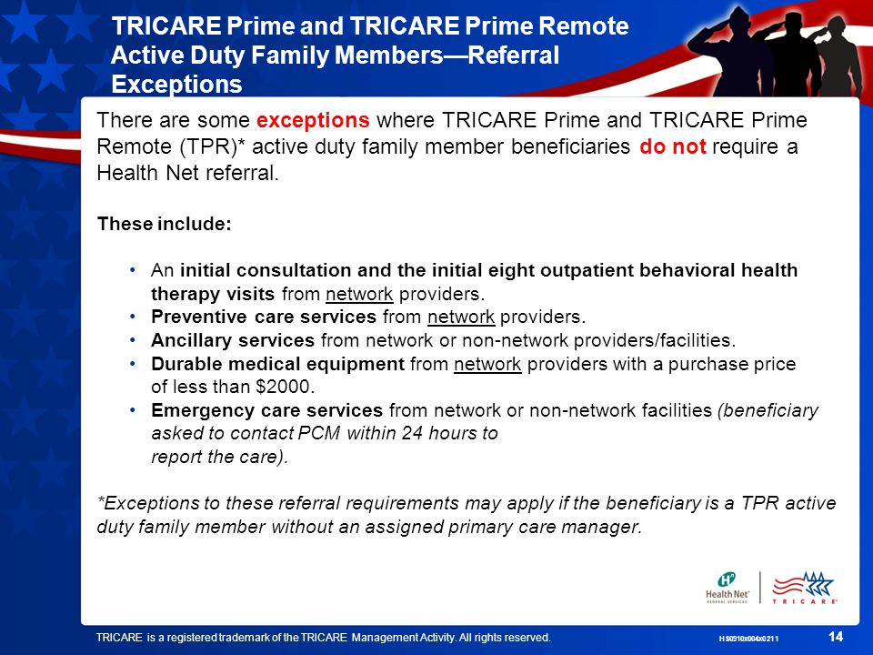 TRICARE Prime and TRICARE Prime Remote Active Duty Family Members—Referral Exceptions