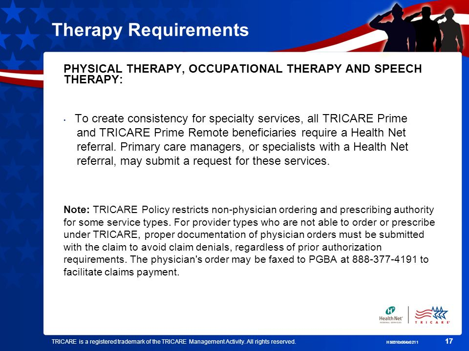 Therapy Requirements PHYSICAL THERAPY, OCCUPATIONAL THERAPY AND SPEECH THERAPY: