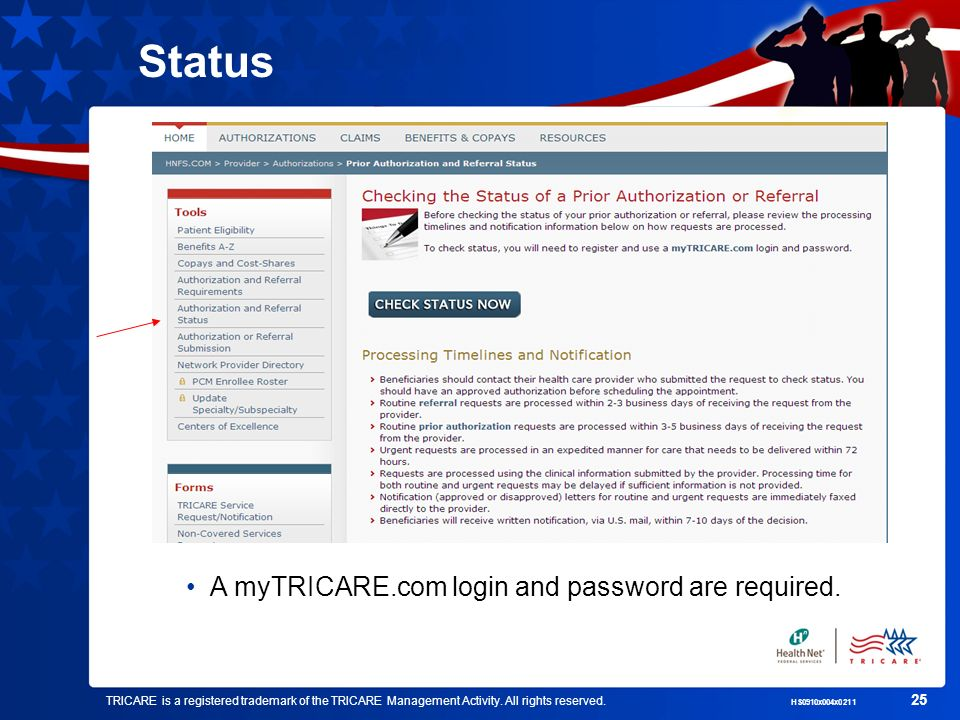 Status A myTRICARE.com login and password are required.