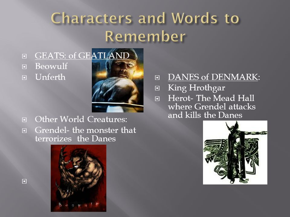 Characters and Words to Remember
