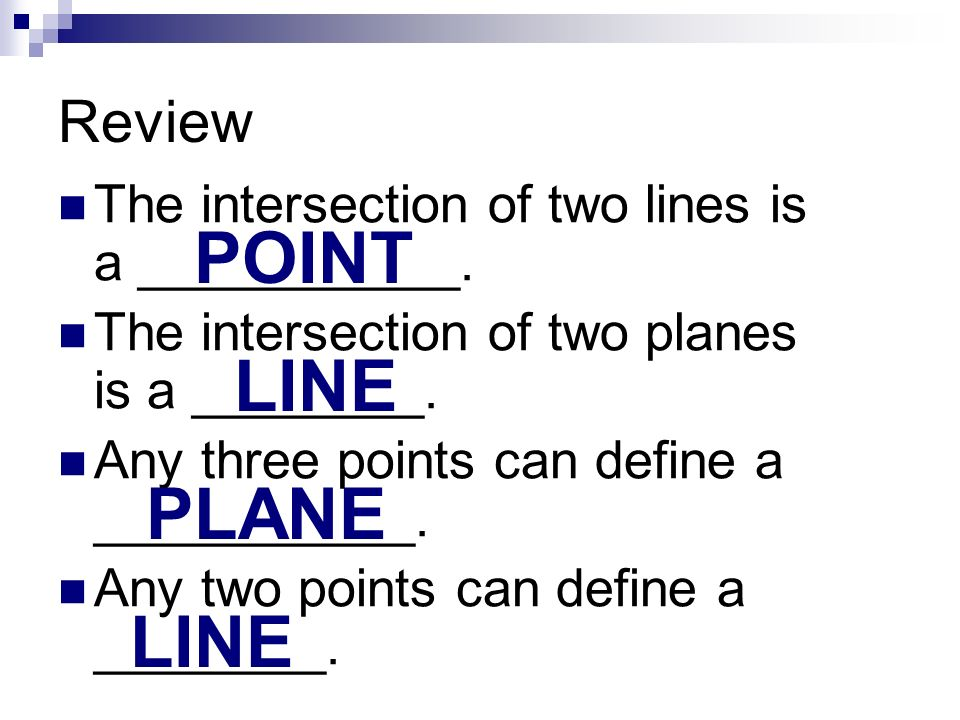 POINT LINE PLANE LINE Review