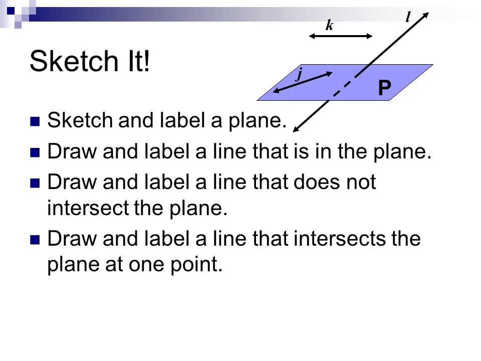 Sketch It! P Sketch and label a plane.