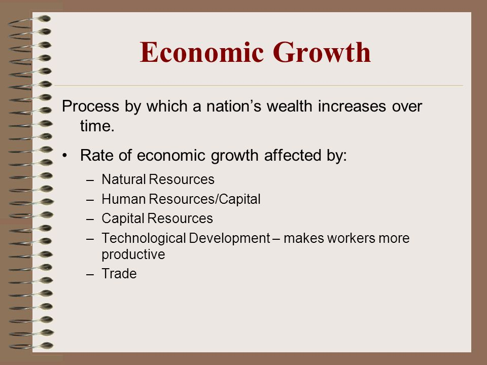 Economic Growth Process by which a nation's wealth increases over time. Rate of economic growth affected by: