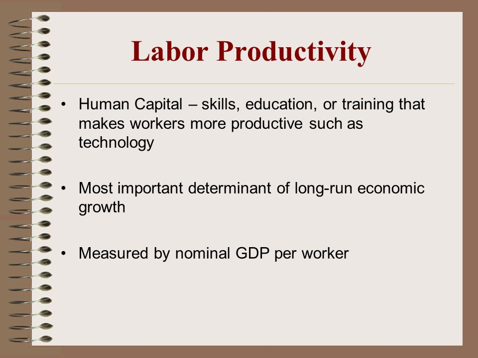 Labor Productivity Human Capital – skills, education, or training that makes workers more productive such as technology.