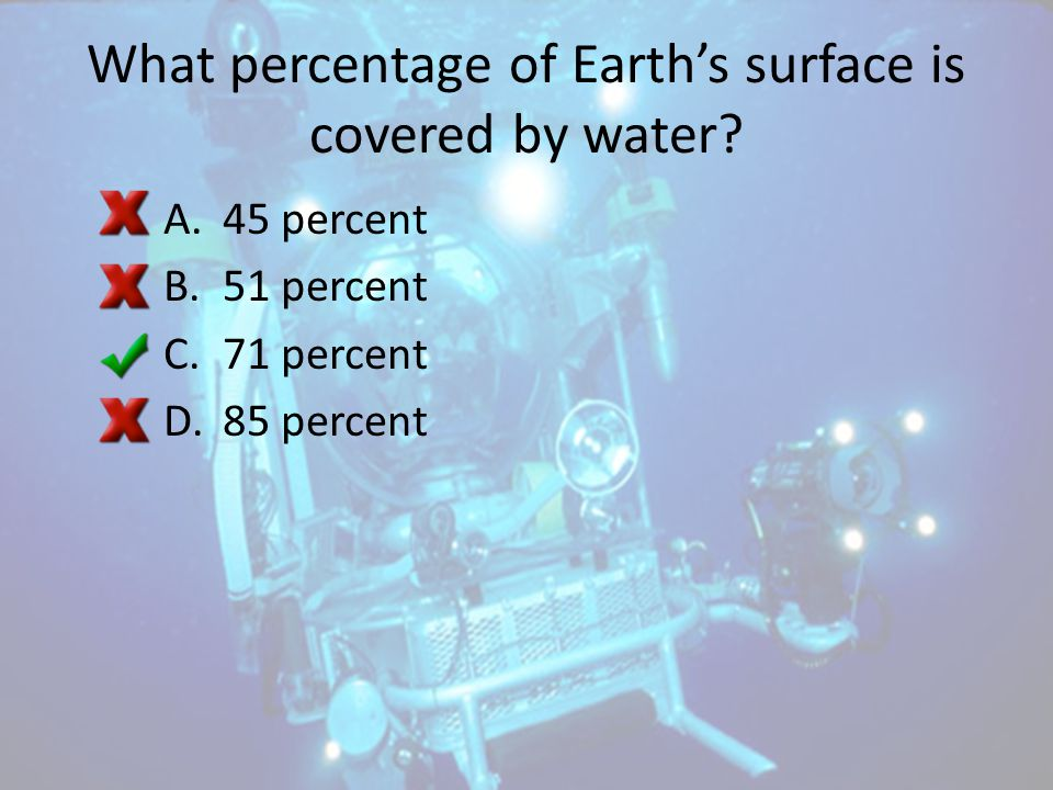 What percentage of Earth's surface is covered by water
