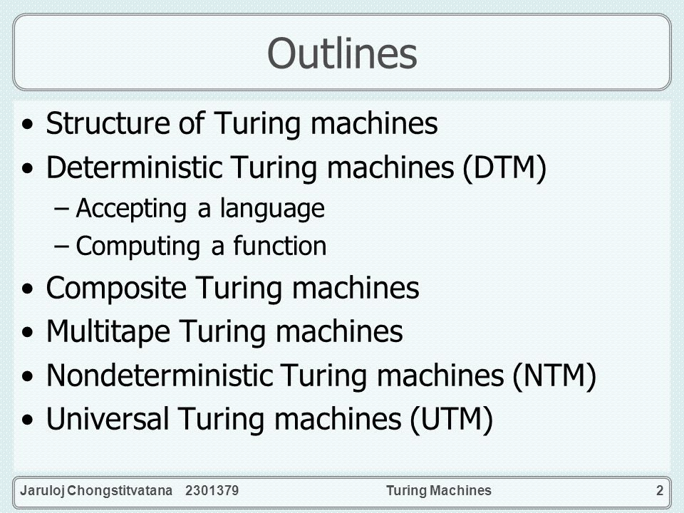 Outlines Structure of Turing machines