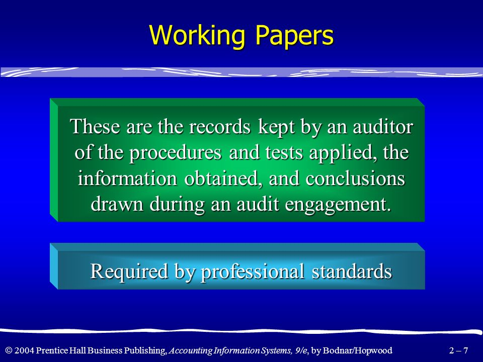 Working Papers These are the records kept by an auditor