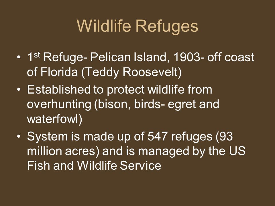 Wildlife Refuges 1st Refuge- Pelican Island, 1903- off coast of Florida (Teddy Roosevelt)