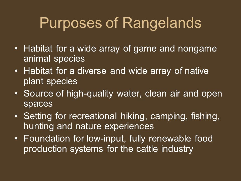 Purposes of Rangelands