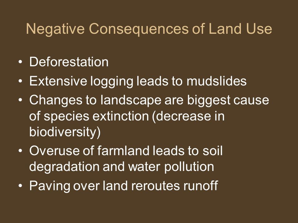 Negative Consequences of Land Use