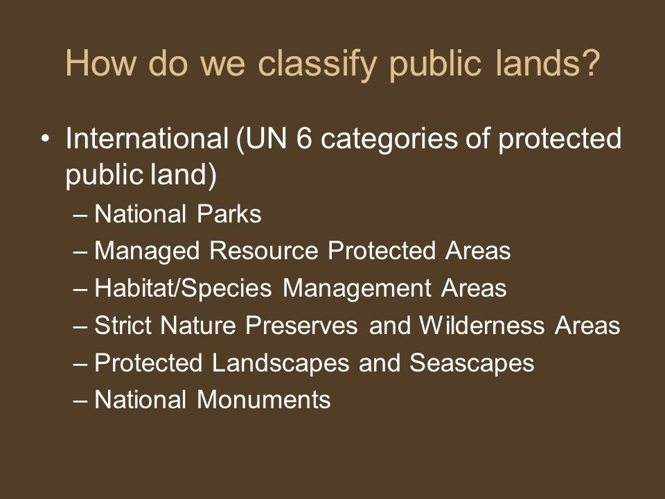 How do we classify public lands