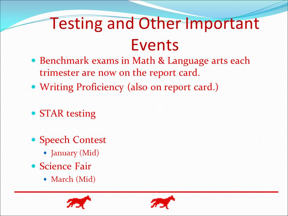 Testing and Other Important Events