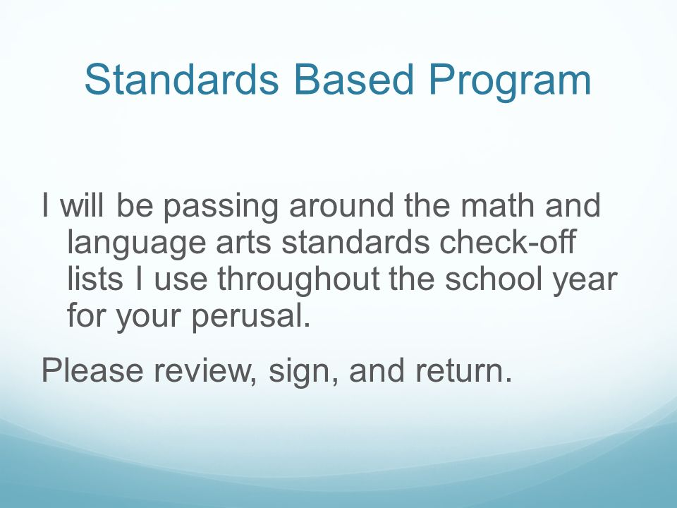 Standards Based Program
