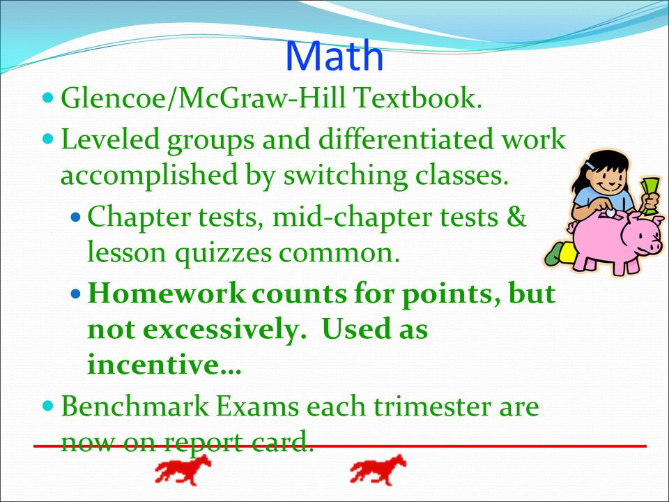Math Glencoe/McGraw-Hill Textbook.