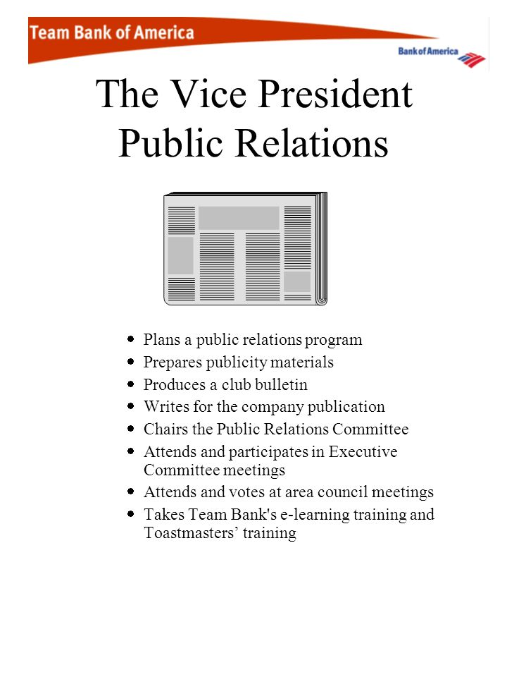 The Vice President Public Relations