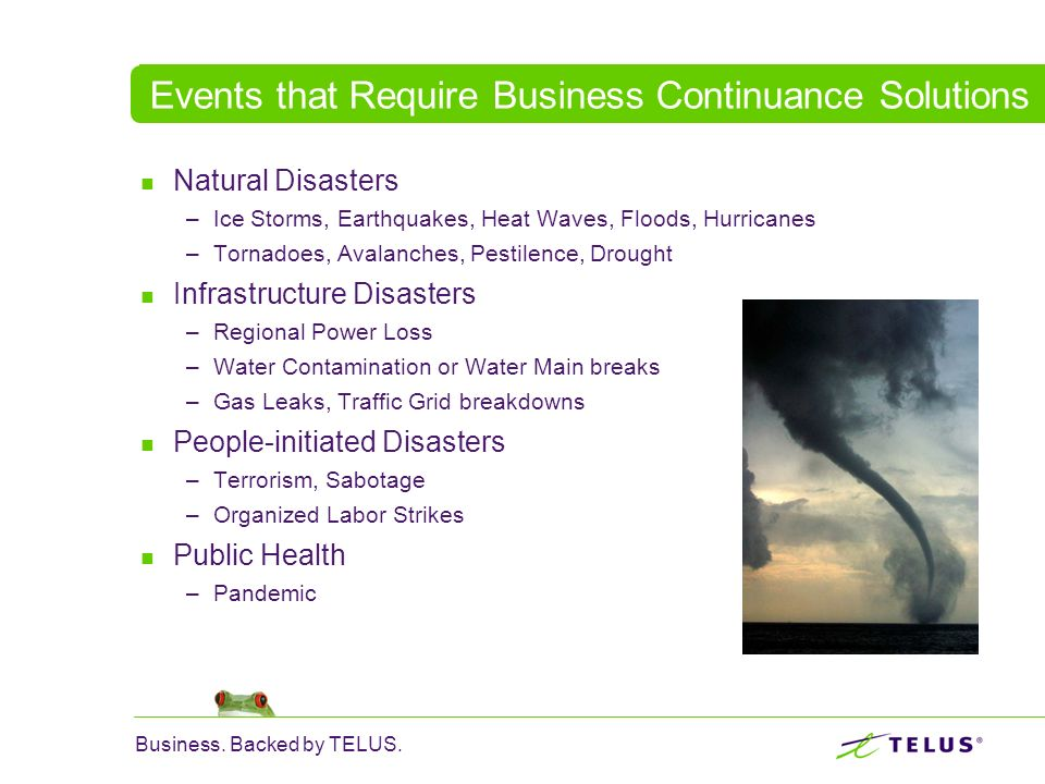 Events that Require Business Continuance Solutions