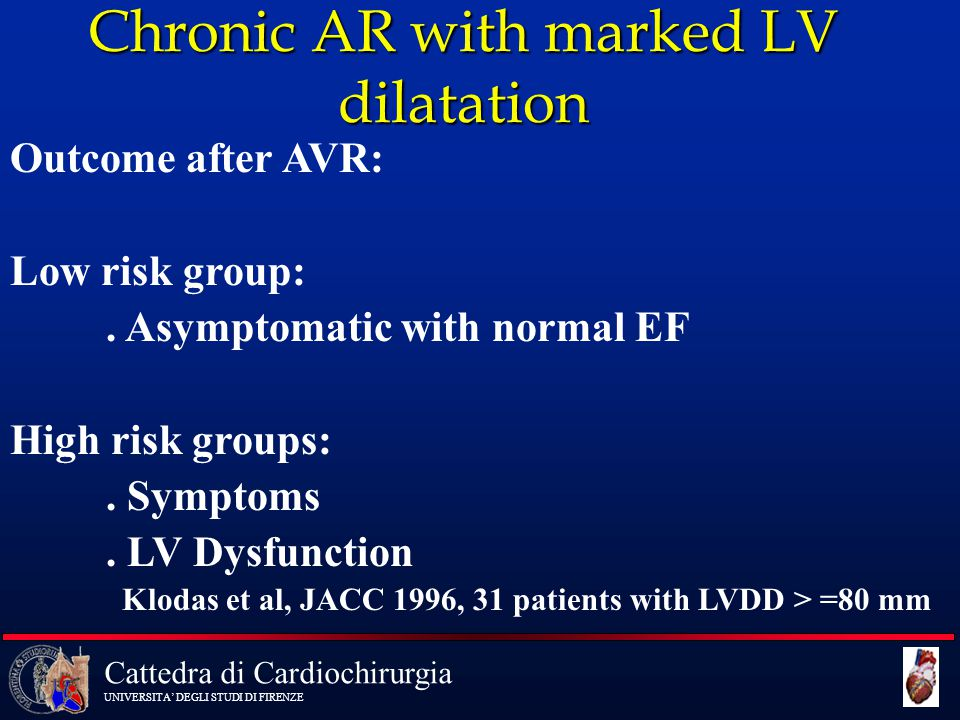 Chronic AR with marked LV dilatation