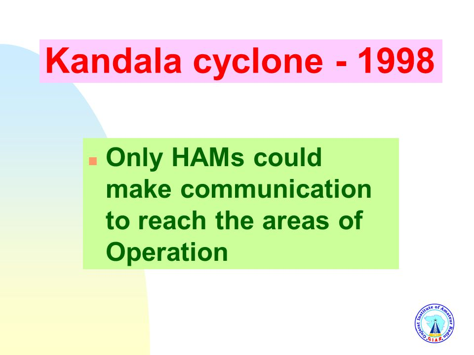 3/25/2017 Kandala cyclone - 1998 Only HAMs could make communication to reach the areas of Operation