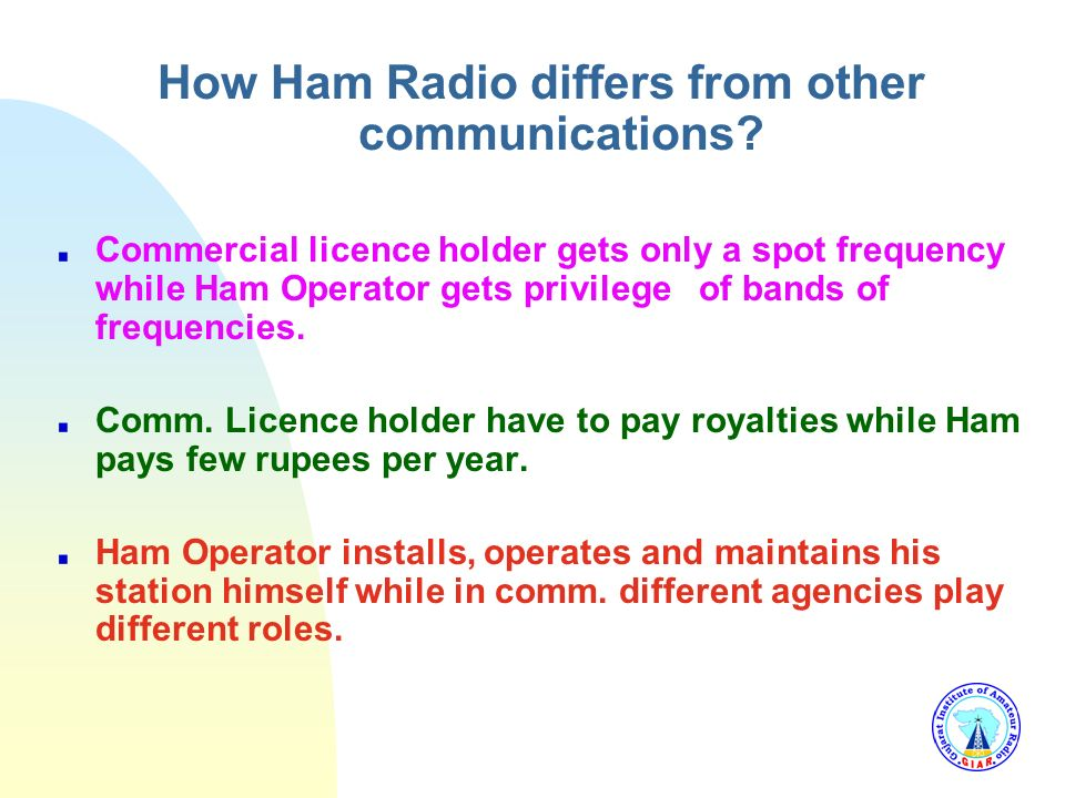 How Ham Radio differs from other communications