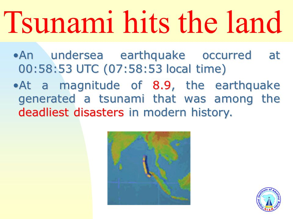Tsunami hits the land 3/25/2017. An undersea earthquake occurred at 00:58:53 UTC (07:58:53 local time)