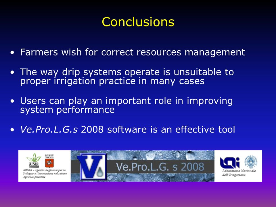 Conclusions Farmers wish for correct resources management