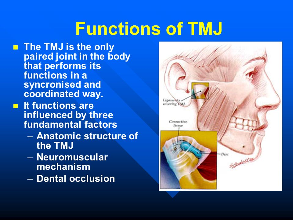 Functions of TMJ The TMJ is the only paired joint in the body that performs its functions in a syncronised and coordinated way.