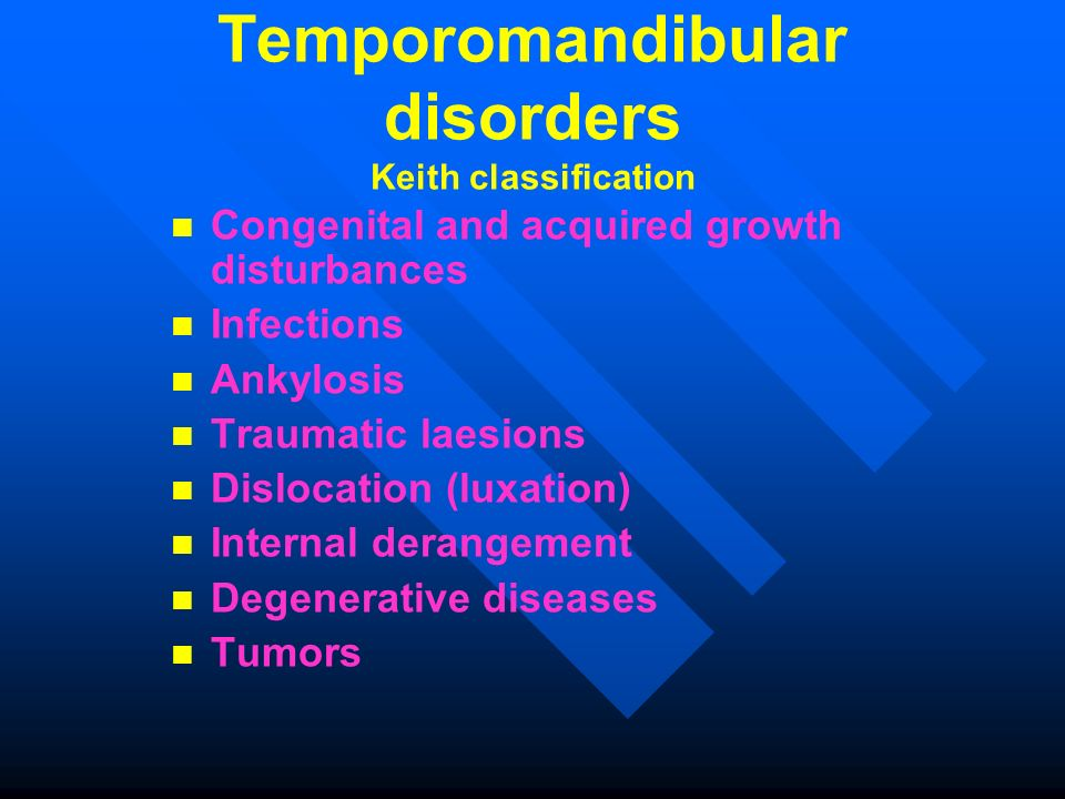 Temporomandibular disorders Keith classification