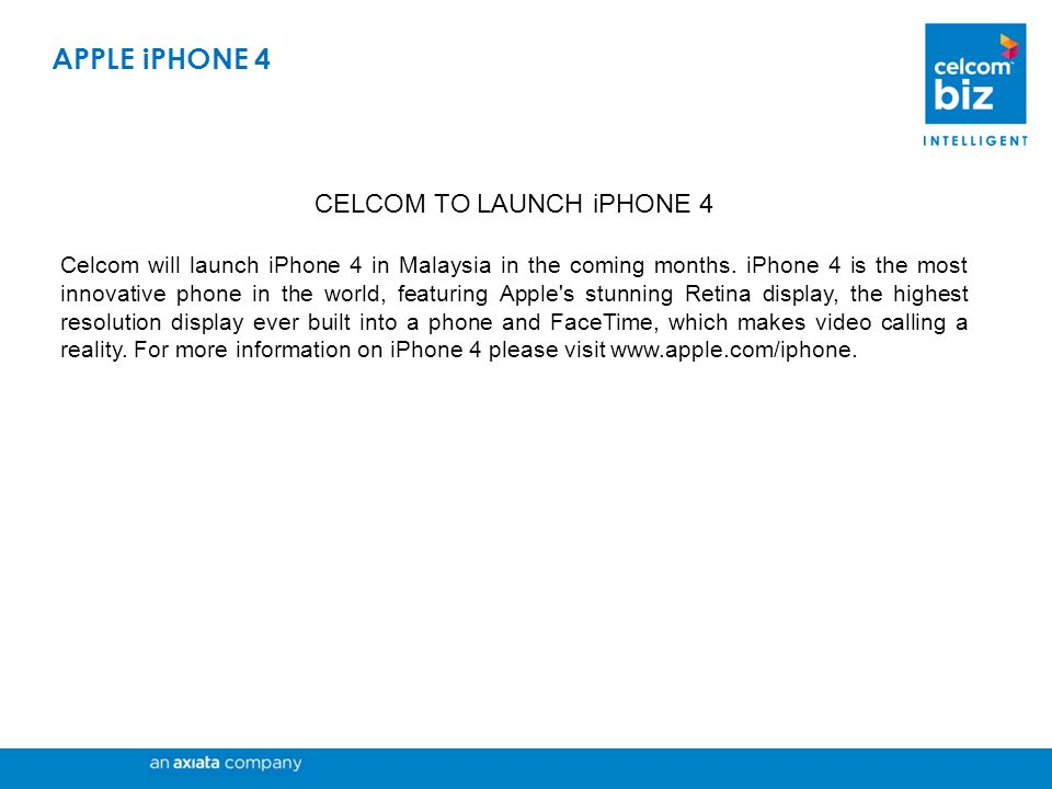 CELCOM TO LAUNCH iPHONE 4