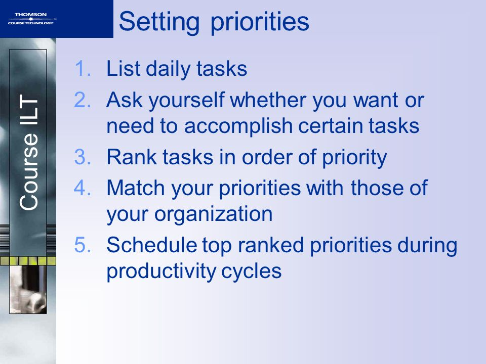 Setting priorities List daily tasks