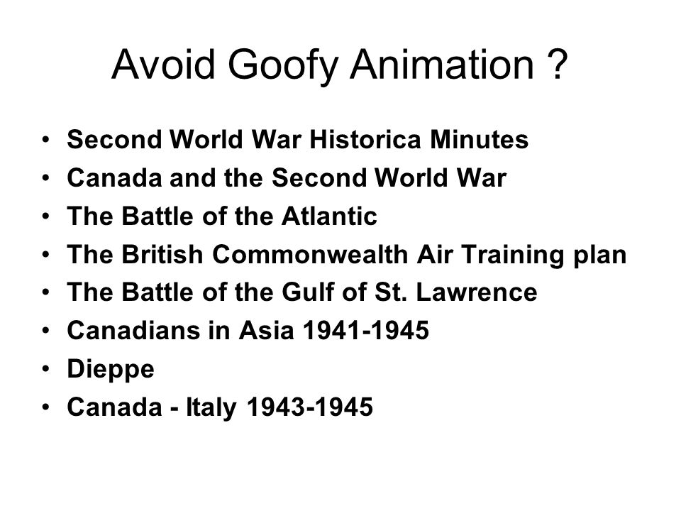 Avoid Goofy Animation Second World War Historica Minutes