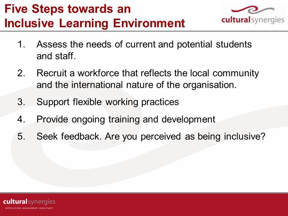 Five Steps towards an Inclusive Learning Environment