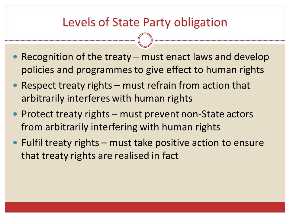 Levels of State Party obligation