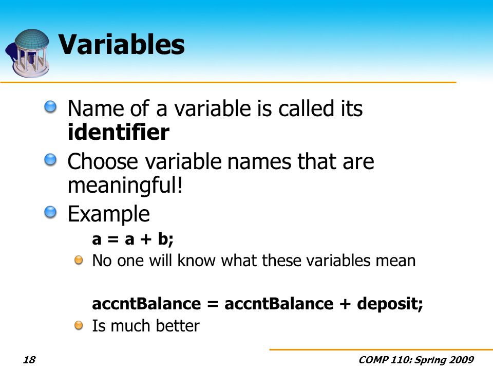 Variables Name of a variable is called its identifier
