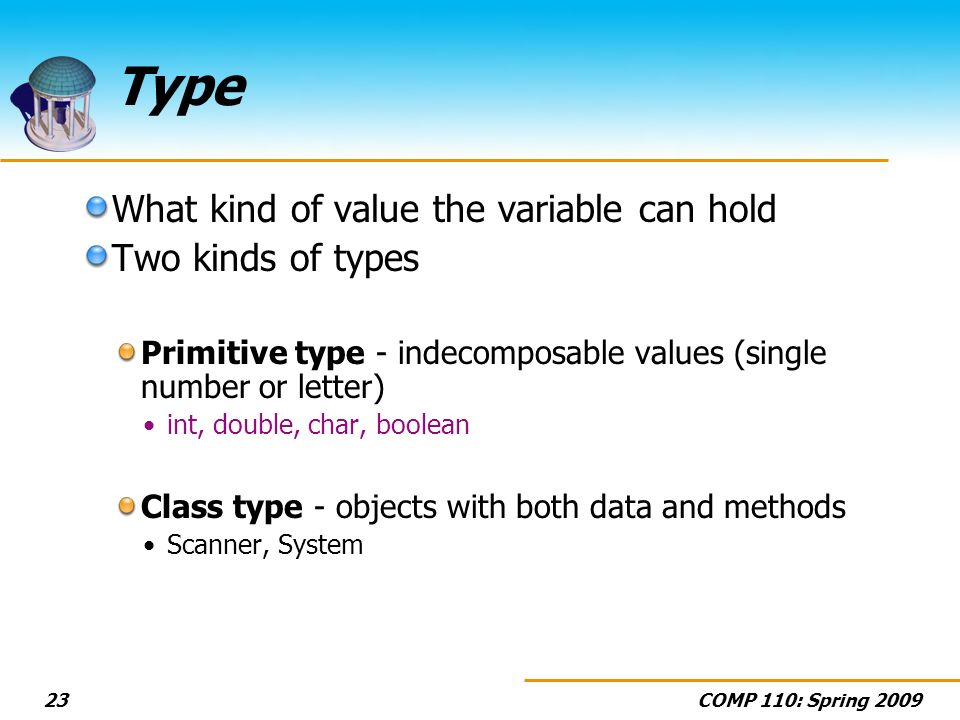 Type What kind of value the variable can hold Two kinds of types