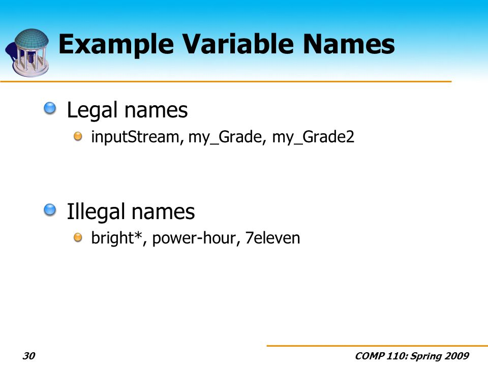 Example Variable Names