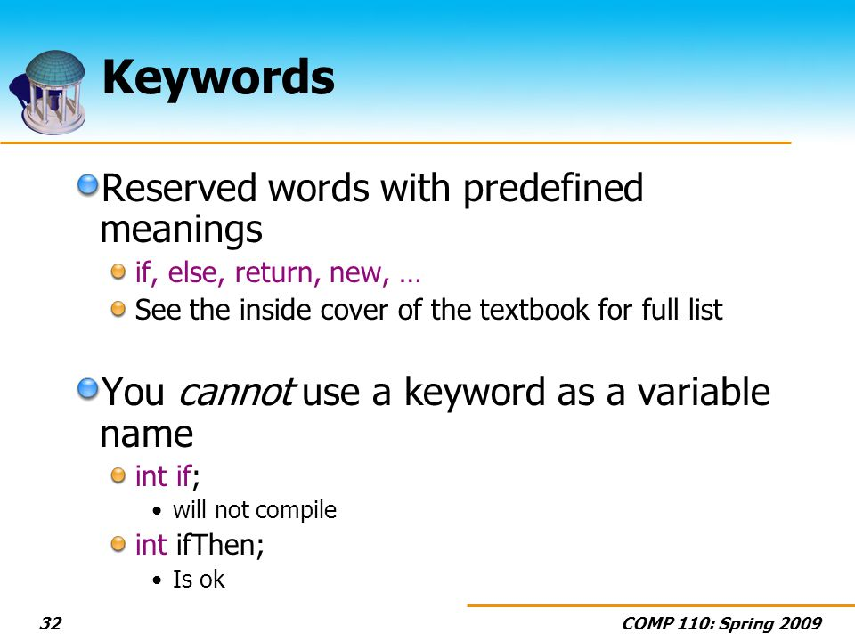 Keywords Reserved words with predefined meanings