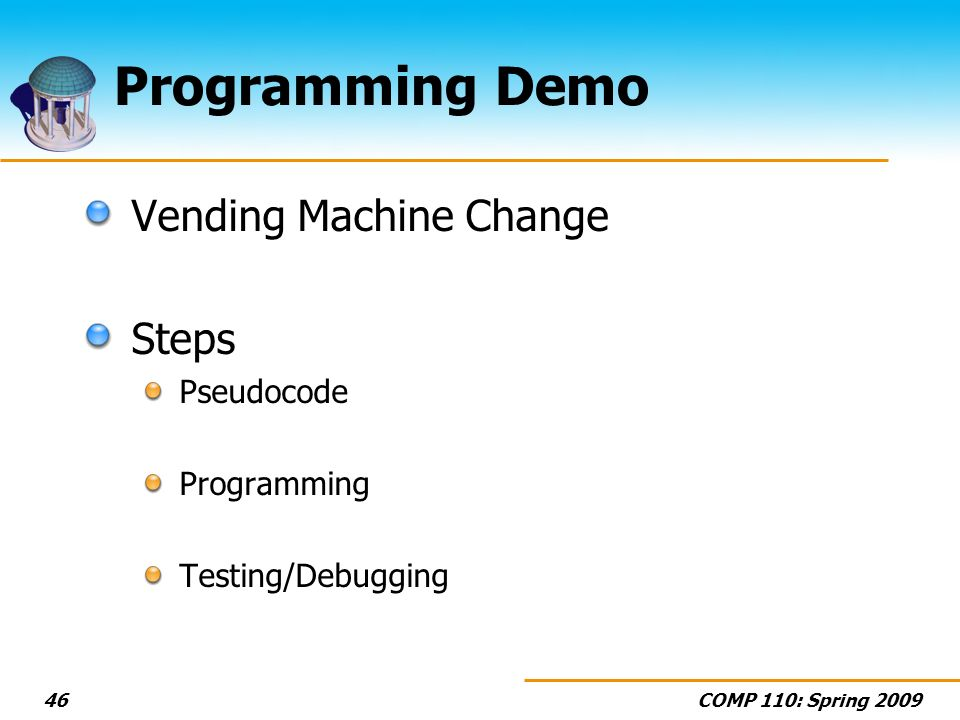 Programming Demo Vending Machine Change Steps Pseudocode Programming