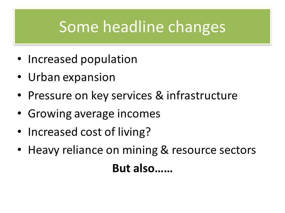 Some headline changes Increased population Urban expansion