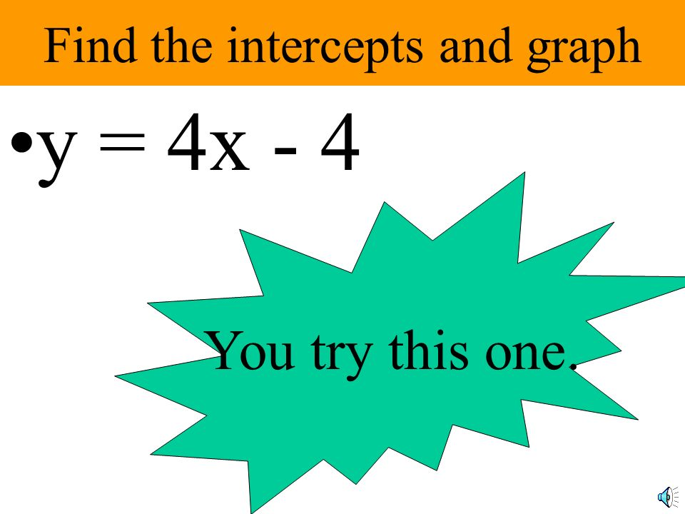 Find the intercepts and graph