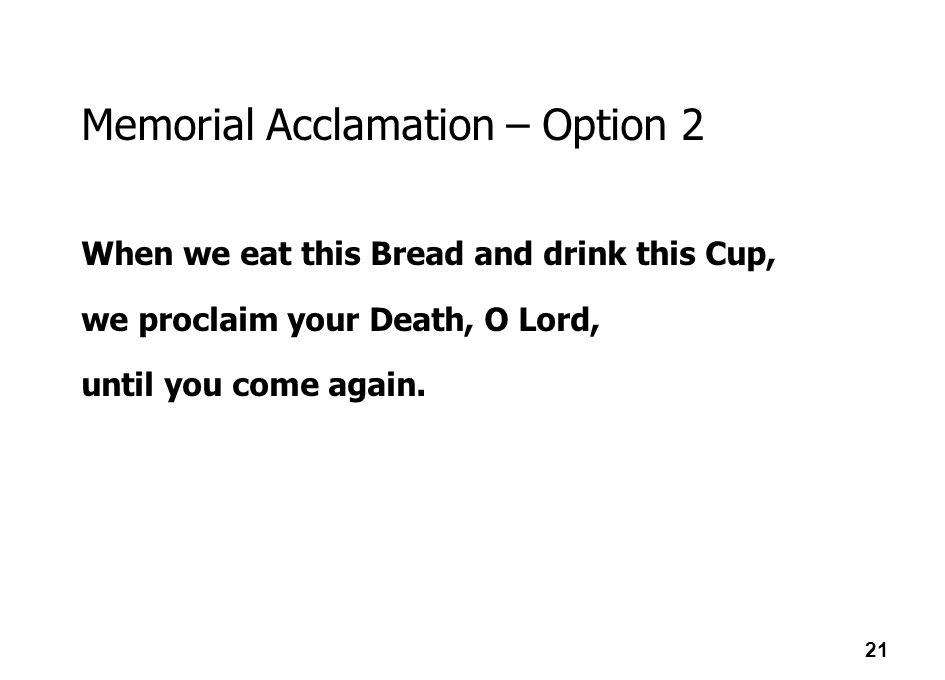 Memorial Acclamation – Option 2